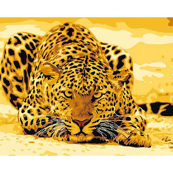"""Холст с красками по номерам """"Леопард на охоте"""" 40х50 см"""