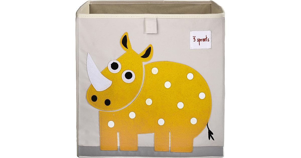 Image of Aufbewahrungsbox Nashorn, 33 x 33 cm gelb