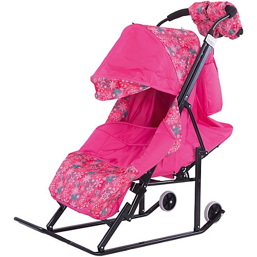Санки-коляска ABC Academy Зимняя Сказка 3В, черная рама, розовый/снежинки от ABC Academy