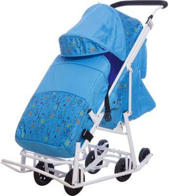 Санки-коляска ABC Academy Зимняя Сказка 3В Люкс, белая рама, голубой/зоопарк