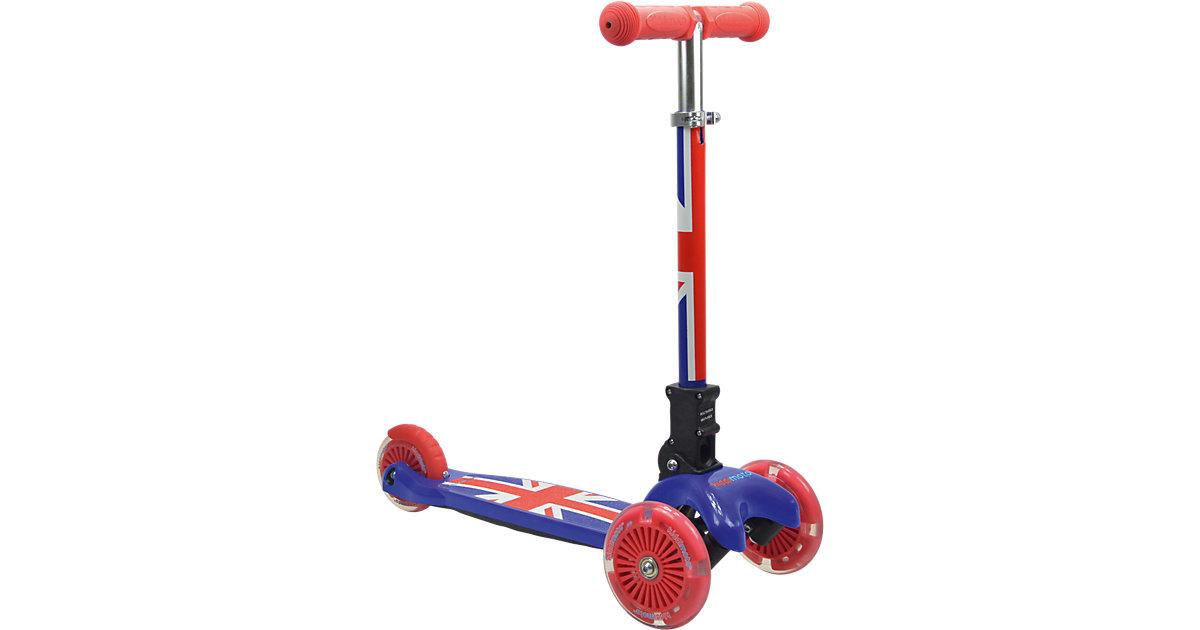 Scooter mit leuchtenden Rädern, Union Jack