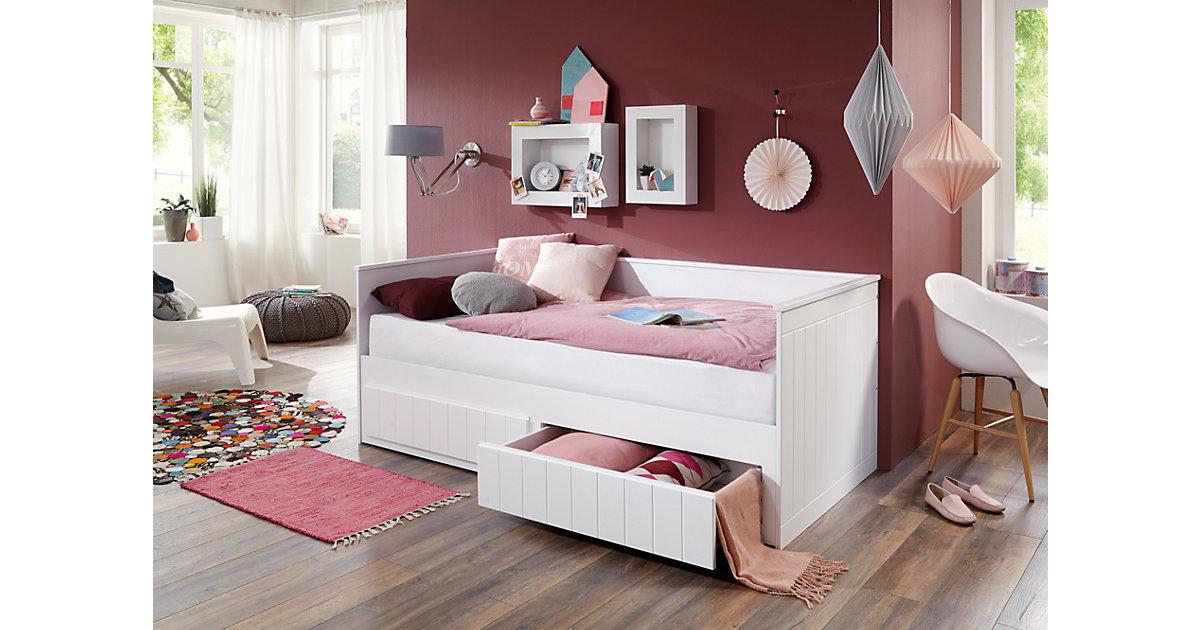 Einzelbett TIMMI inkl. Bettkasten und Rollrost, Buche massiv, weiß, 90/180 x 200 cm Gr. 90 x 200