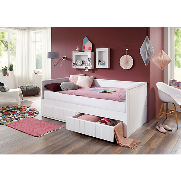 einzelbett timmi inkl bettkasten und rollrost buche massiv wei 90 180 x 200 cm relita mytoys. Black Bedroom Furniture Sets. Home Design Ideas
