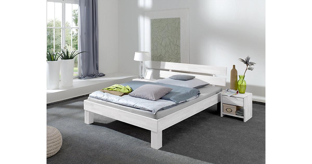 Futonbett JULIA, Buche massiv, weiß gewaschen, 180 x 200 cm
