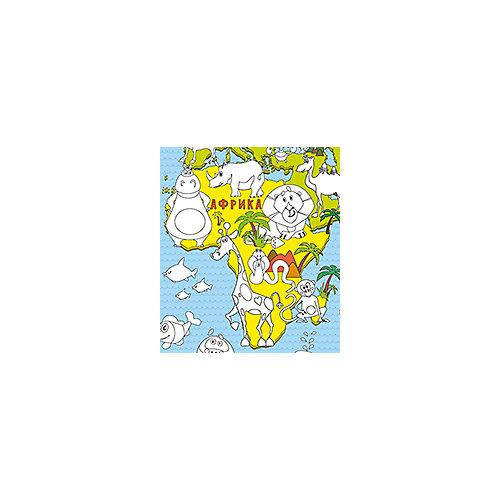 """Карта-раскраска """"Карта мира Животные"""" от Бумбарам"""