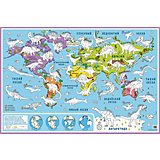 """Карта-раскраска настенная карта мира """"Динозавры"""""""
