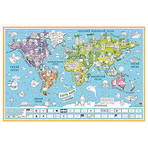 """Карта-раскраска настенная карта мира """"Страны"""" от Бумбарам"""