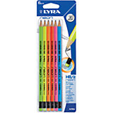 Чернографитные карандаши, лакированные неоновые с ластиком 6 шт (Мягкость HB)
