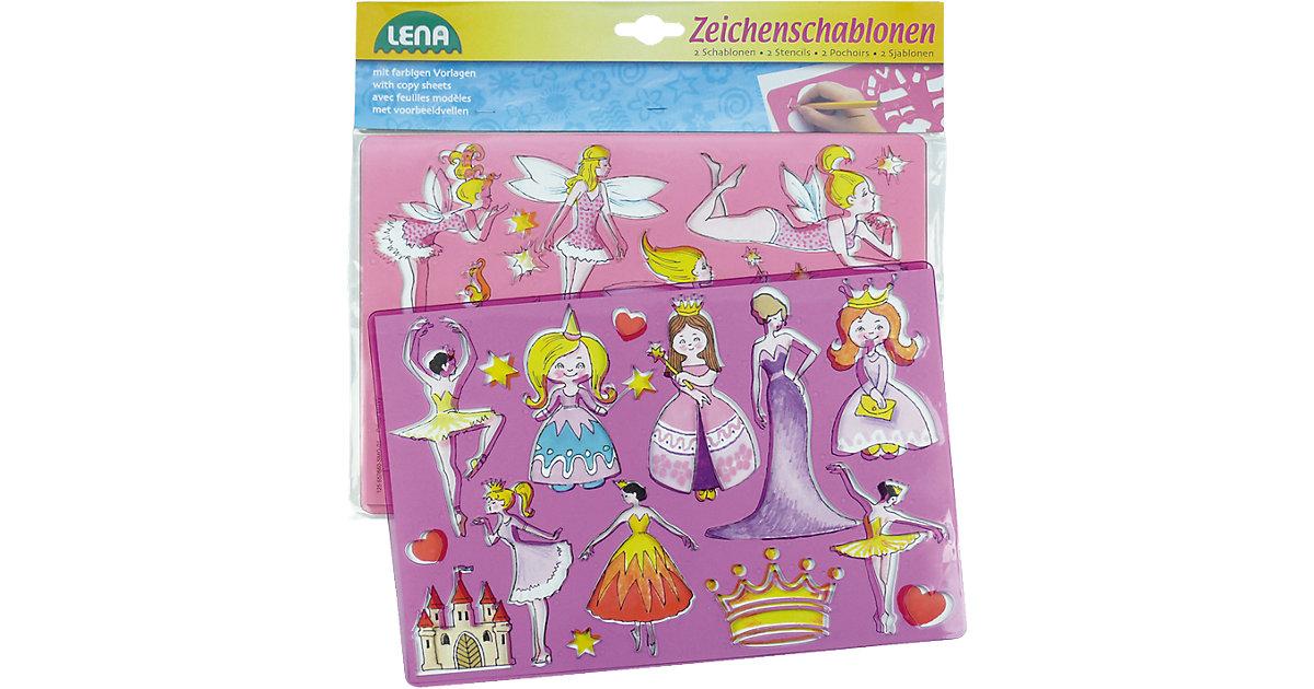 Zeichenschablonen 3er-Set Mädchen, 6 Schablonen...
