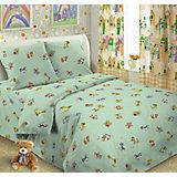 Детское постельное белье 3 предмета Letto, Ясли зверята, зеленый
