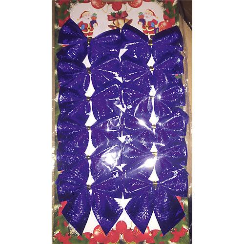"""Новогоднее украшение из полиэстера """"Бант синее небо"""" (5*5см,набор из 12 шт.) от Феникс-Презент"""