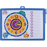 Доска-часы двусторонняя, с маркером (синяя)