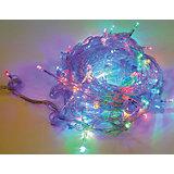 Электрогирлянда 100LED цветного свечения, прозрачный провод 8м, 8 режимов