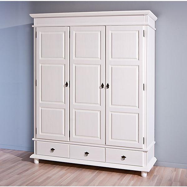 Schlafzimmerschrank weiß  Kleiderschrank Arnis, 3-türig., Kiefer massiv, weiss, | myToys