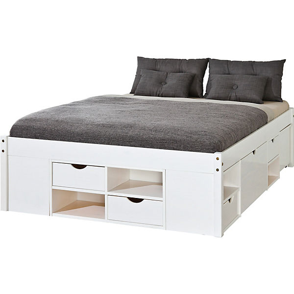 funktionsbett mit schubk sten schuby kiefer massiv wei 140x200 cm mytoys. Black Bedroom Furniture Sets. Home Design Ideas