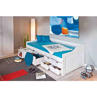 funktionsbett mit schubk sten ulli kiefer massiv wei 200 x 90 cm mytoys. Black Bedroom Furniture Sets. Home Design Ideas