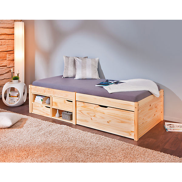 funktionsbett mit schubkasten h sby kiefer massiv natur 90x200 cm mytoys. Black Bedroom Furniture Sets. Home Design Ideas