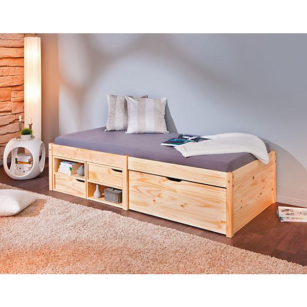 funktionsbett mit schubkasten h sby kiefer massiv natur. Black Bedroom Furniture Sets. Home Design Ideas