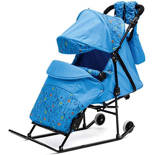 Санки-коляска ABC Academy Зимняя сказка 3В Авто, черная рама, голубой/зоопарк от ABC Academy