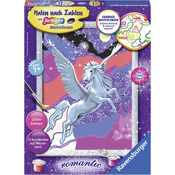 Malen Nach Zahlen 18x24 Cm Mit Farbigen Motivlinien Glittereffekt Stolzer Pegasus Ravensburger