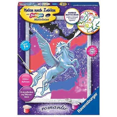 Malen Nach Zahlen 18x24 Cm Mit Farbigen Motivlinien Glittereffekt Stolzer Pegasus Ravensburger Mytoys