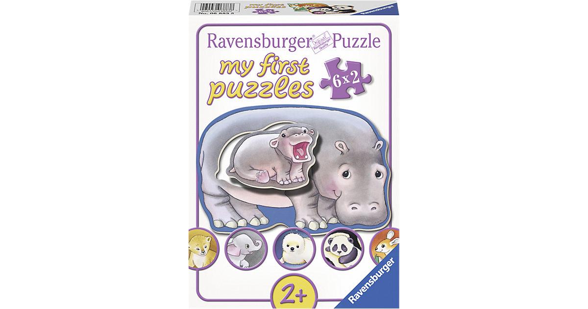 Puzzleset 6 x 2 Teile Hallo Tierbabys!
