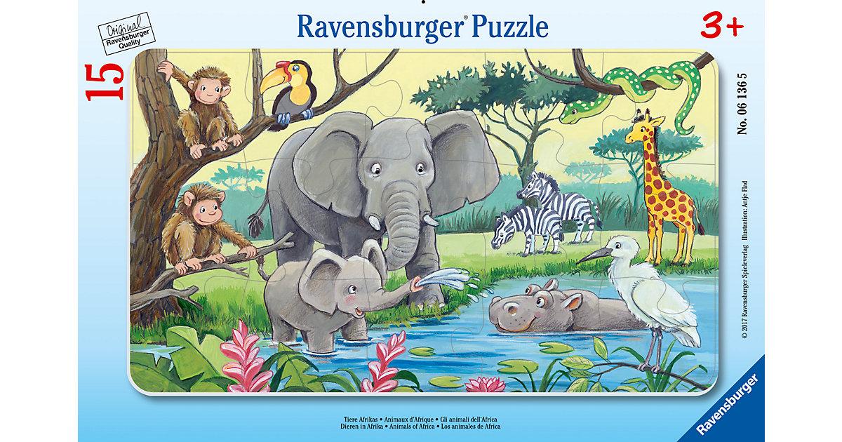 Rahmen-Puzzle, 15 Teile, 25x14,5 cm, Tiere Afrikas
