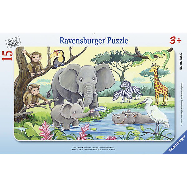 Rahmenpuzzle 15 Teile Tiere Afrikas, Ravensburger
