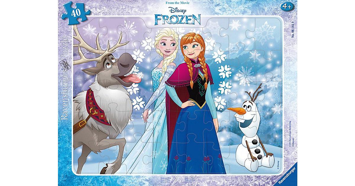 Rahmen-Puzzle, 40 Teile, 32,5x24,5 cm, Die Eiskönigin Anna und Elsa