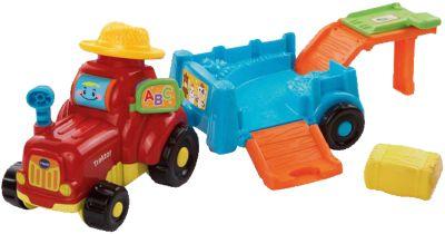 Bauernhof Traktor mit Anhänger Bauernhof Kuh Bulldog Trecker Fahrzeug aus Holz Spielzeug Holzspielzeug