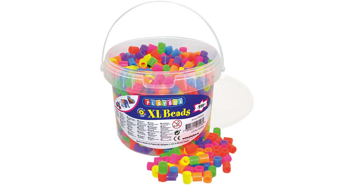 XL-Bügelperlen im Eimer, Neonfarben, 950 Stück