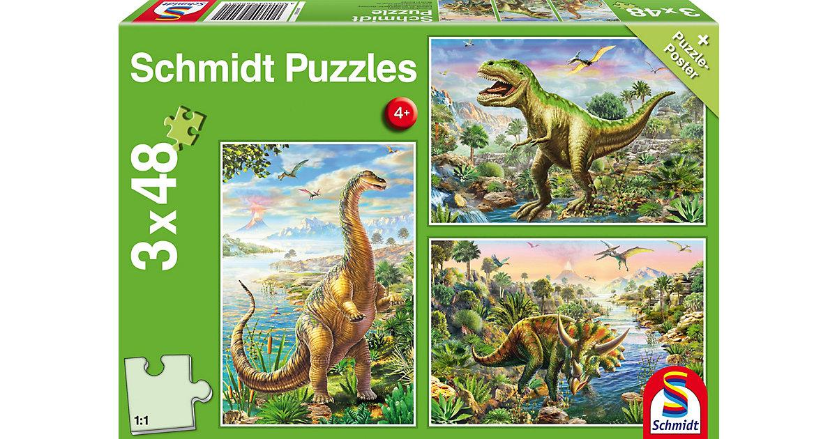 Kinderpuzzle 3 x 48 Teile, Abenteuer mit den Dinosauriern