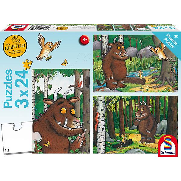 Kinderpuzzleset 3 x 24Teile Mein Freund der Grüffelo, Der Grüffelo