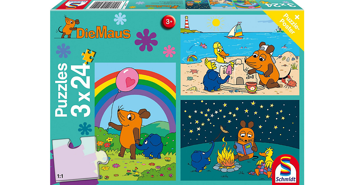 Kinderpuzzleset 3 x 24 Teile Die Maus, Gute Freunde