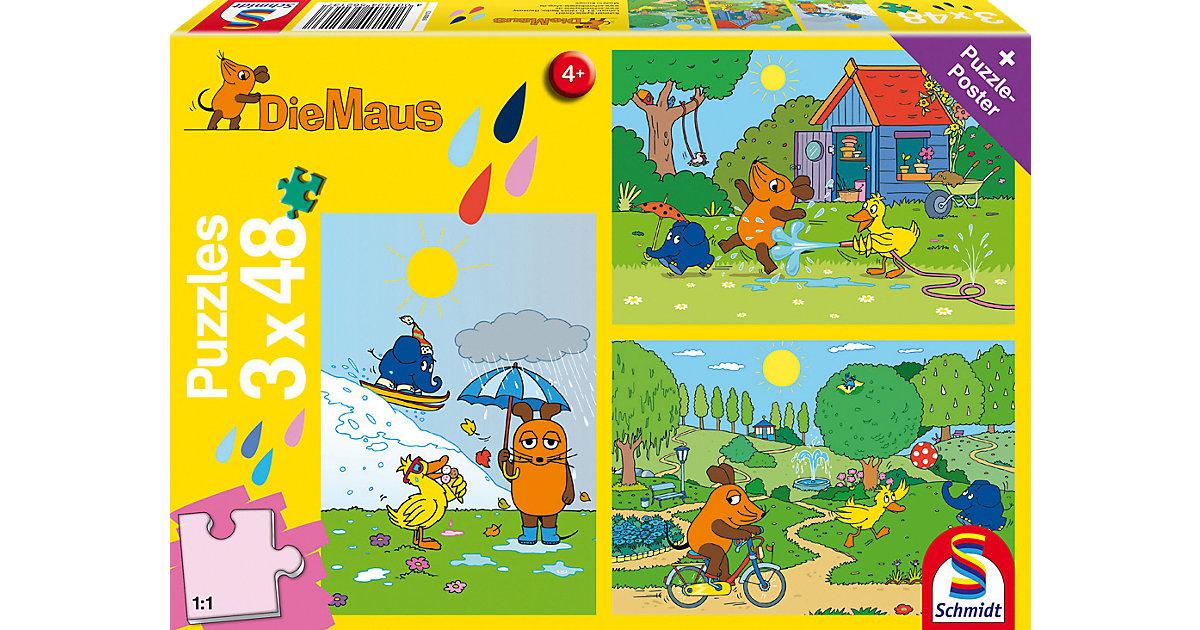 Kinderpuzzleset 3 x 48 Teile Die Maus, Viel Spa...