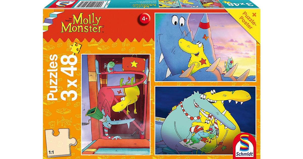 Kinderpuzzleset 3 x 48 Teile Molly Monster, Gro...