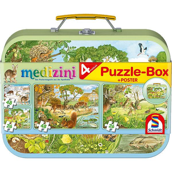 Puzzlekoffer 2 x 26 + 2 x 48 Teile Medizini, Die vier Jahreszeiten, Schmidt Spiele