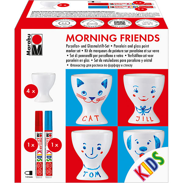 KIDS Porzellan- & Glasfarben-Set Morning friends, 4 Eierbecher & Stifte