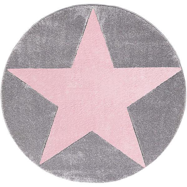 teppich star silbergrau rosa 133 cm rund happy rugs mytoys. Black Bedroom Furniture Sets. Home Design Ideas