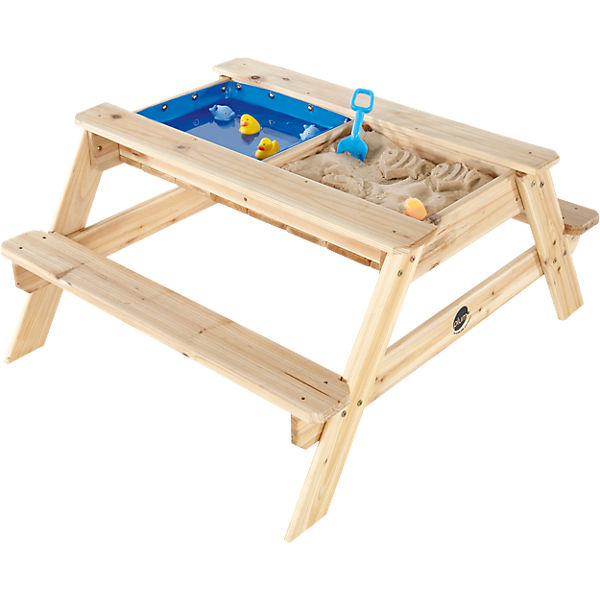 2in1 sand wasserspieltisch und picknicktisch aus holz plum mytoys. Black Bedroom Furniture Sets. Home Design Ideas