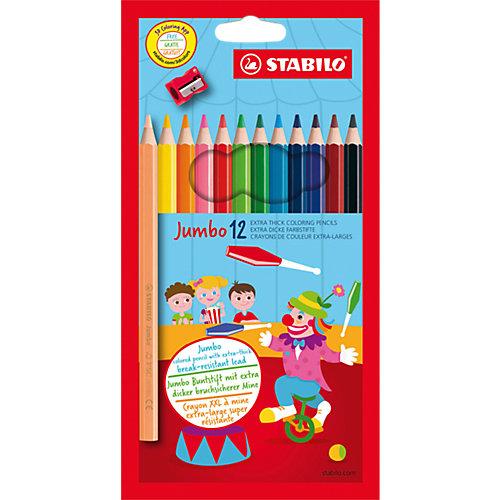 """Цветные карандаши с точилкой Stabilo """"Jumbo"""" 12 цветов, утолщённые от STABILO"""