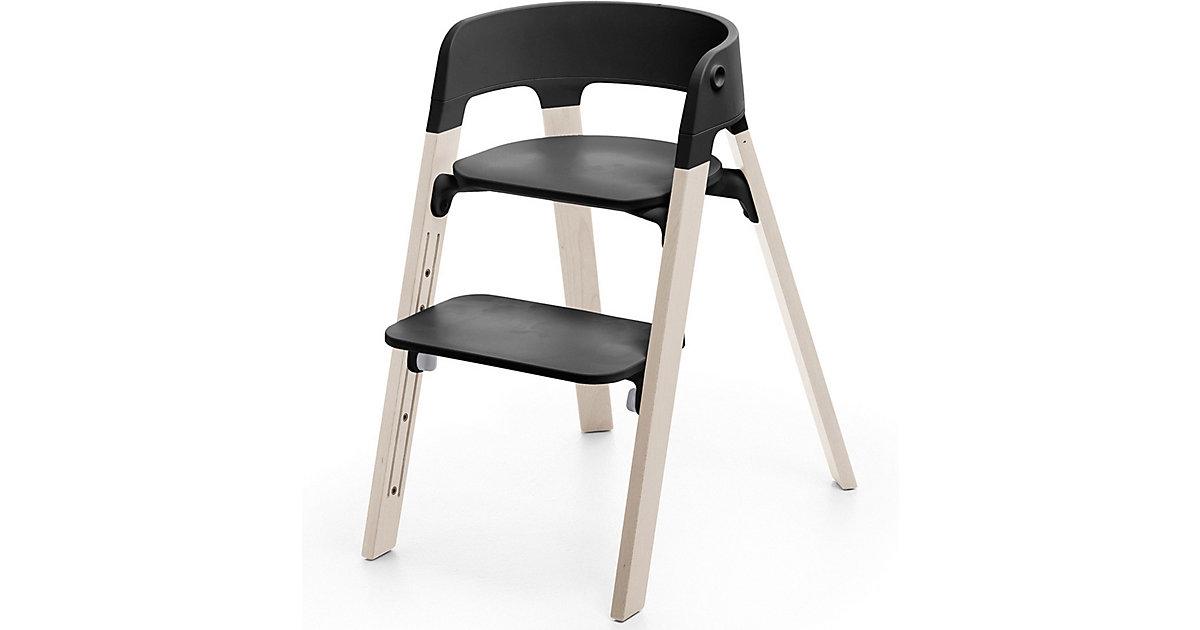 Stokke · Steps™ Hochstuhl, Sitz black inkl. Beine Buchenholz, white wash