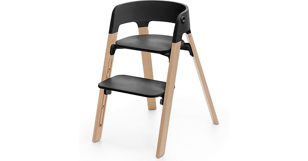 Stokke · Steps™ Hochstuhl, Sitz black inkl. Beine Buchenholz, natural