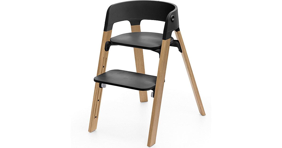 Stokke · Steps™ Hochstuhl, Sitz black inkl. Beine Eichenholz, natural