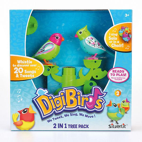 Две птички с деревом, зелено-голубые, DigiBirds