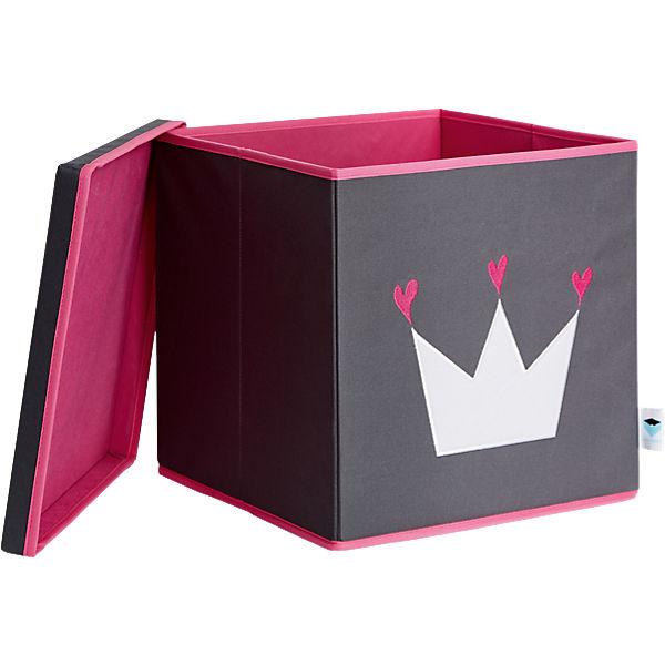 ordnungsbox mit deckel mdf grau mit wei er krone store it mytoys. Black Bedroom Furniture Sets. Home Design Ideas