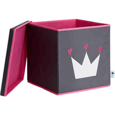 ordnungsbox mit deckel mdf grau mit wei er krone store. Black Bedroom Furniture Sets. Home Design Ideas