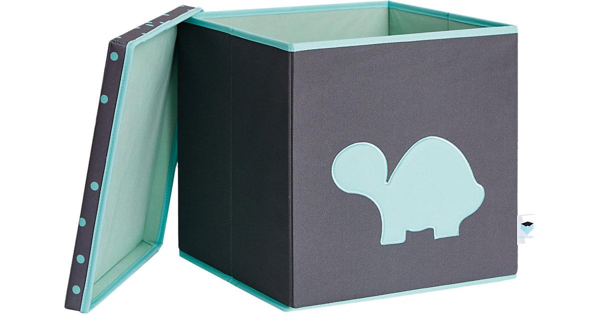 Image of Spielzeugkiste Schildkröte, mit stabilem Deckel, grau/türkis
