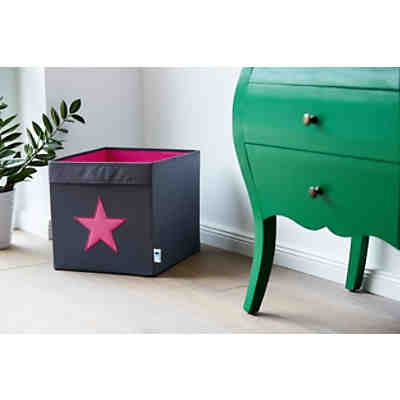 aufbewahrungskorb mini grau mit pinkem stern store it. Black Bedroom Furniture Sets. Home Design Ideas