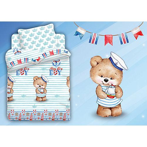 Детское постельное белье 3 предмета Непоседа, Мишка морячок - голубой от Непоседа